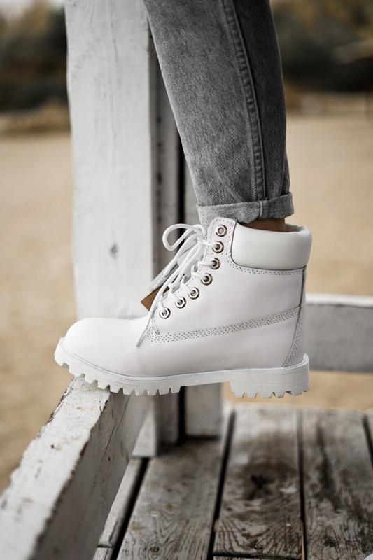 😊timberland white 🤗 женские ботинки тимберленд белые термо осе...
