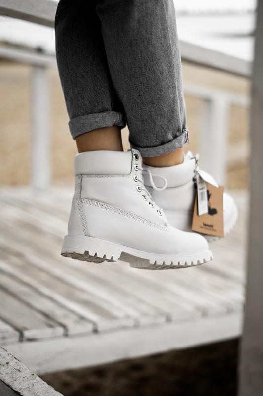 😊timberland white 🤗 женские ботинки тимберленд белые термо осе... - Фото 5
