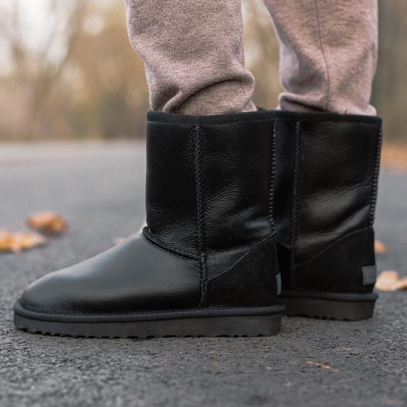 😊ugg classic short ii boot leather🤗 женские угги сапоги на зим...