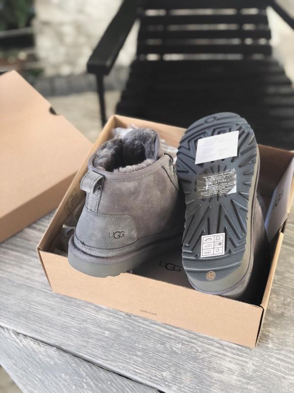 😊ugg neumel  grey 🤗 мужские сапоги угги серые с мехом теплые зима - Фото 5