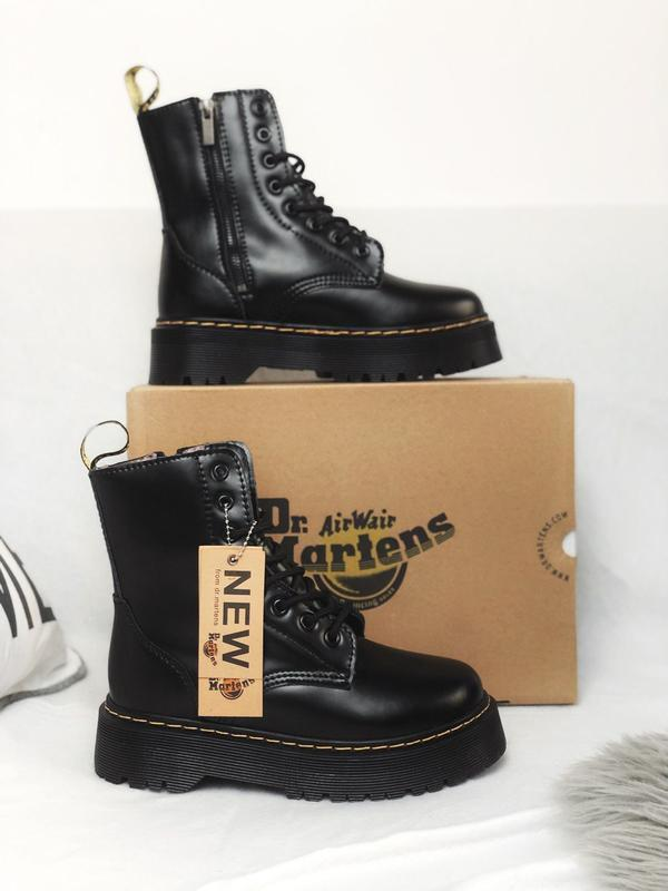 😊dr martens jadon black fur🤗 женские ботинки мартинс чёрные с ...