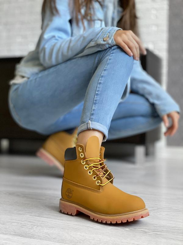 😊timberand brown🤗 женские ботинки тимберленд рыжие термо