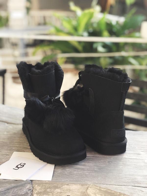 😊ugg gita black suede🤗 шикарные женские сапоги угги с мехом те... - Фото 4