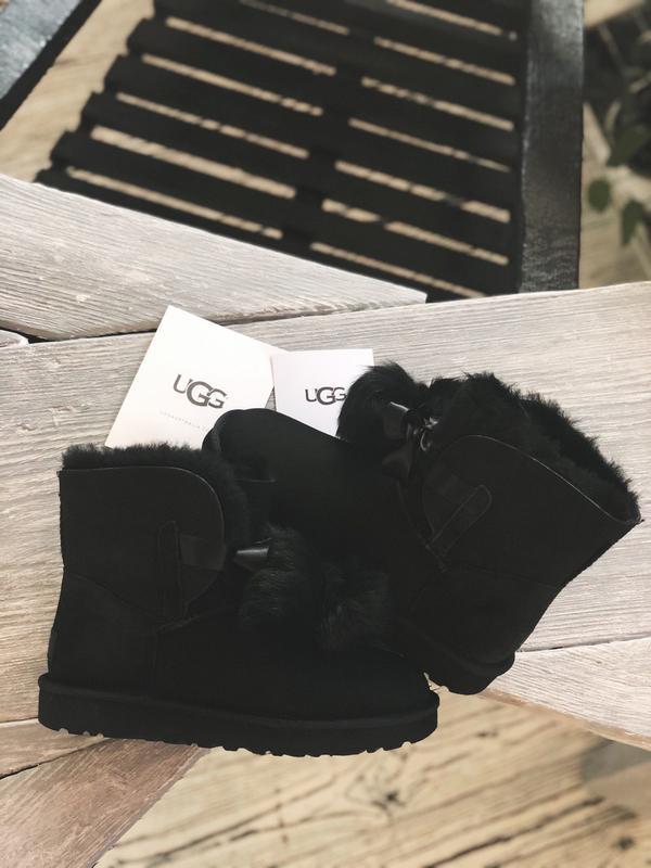 😊ugg gita black suede🤗 шикарные женские сапоги угги с мехом те... - Фото 5