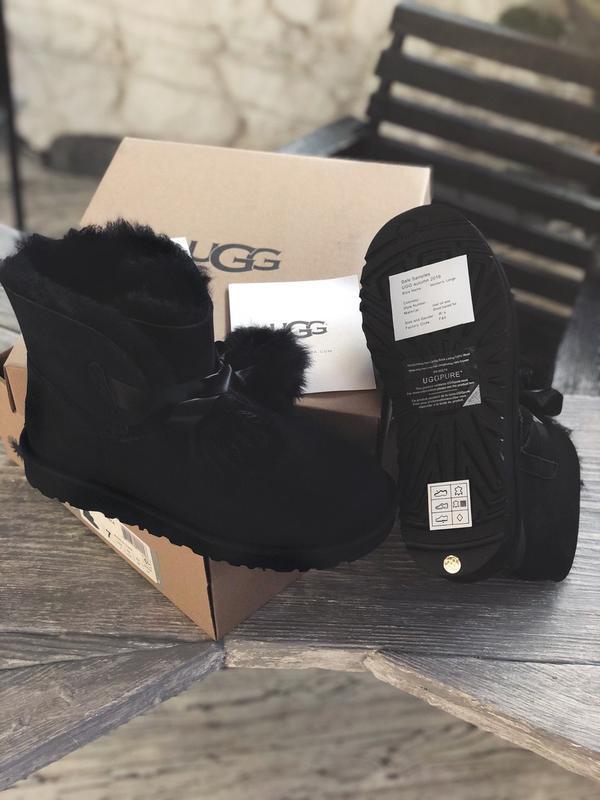 😊ugg gita black suede🤗 шикарные женские сапоги угги с мехом те... - Фото 6