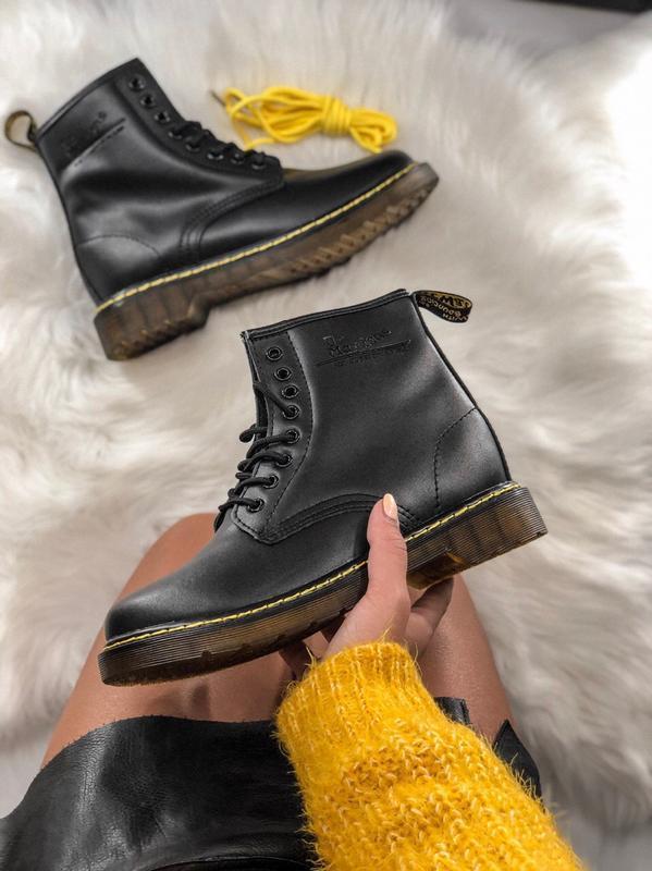 😊dr.martens 1460 classic fur🤗 женские ботинки мартинс чёрные с...