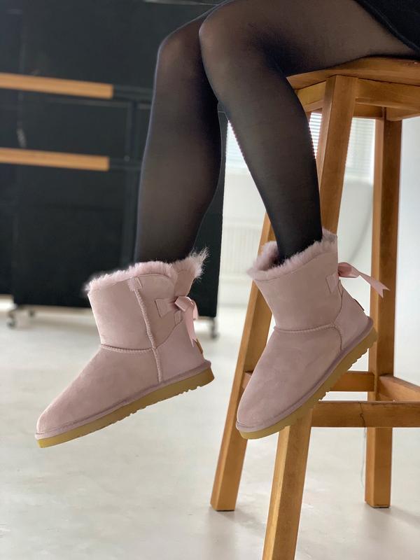 😊ugg bailey bow pink mini🤗 женские зимние угги сапоги чёрные с...