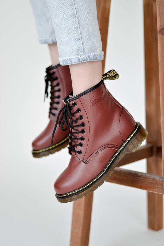 😊dr. martens 1460 burgundy fur🤗 женские ботинки мартинс бордов...