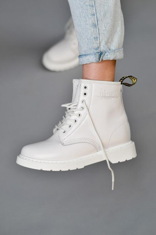 😊dr. martens 1460 mono white fur🤗 женские ботинки мартинс белы...