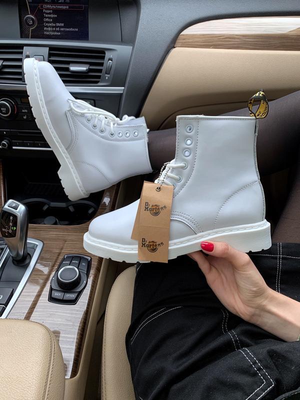 😊dr. martens 1460 white🤗 женские ботинки мартинс белые с мехом...