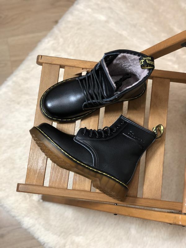 😊dr. martens 1460 black fur🤗 женские зимние ботинки с мехом ма... - Фото 4