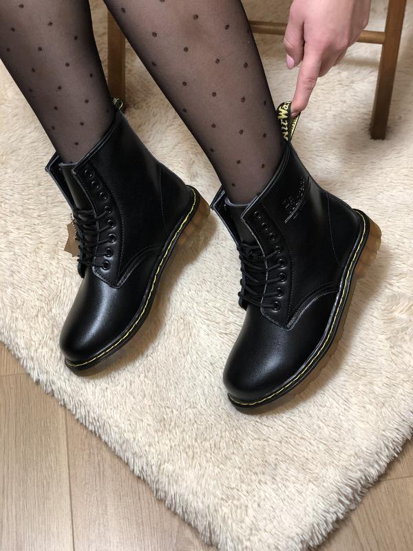 😊dr. martens 1460 black fur🤗 женские зимние ботинки с мехом ма... - Фото 6