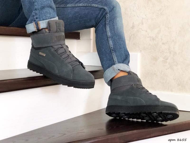 😊puma suede high winter🤗 мужские зимние кроссовки с мехом высо... - Фото 3