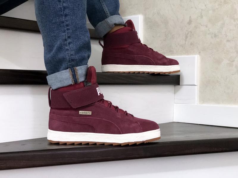 😊puma suede high winter🤗 мужские зимние кроссовки с мехом высо...
