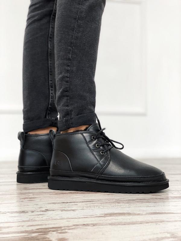 😊ugg neumel black leather🤗 мужские зимние угги ботинки кожаные...