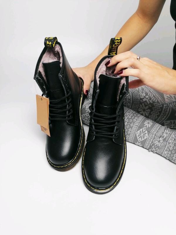 😊dr. martens 1460 black fur🤗 женские зимние ботинки мартинс чё... - Фото 2