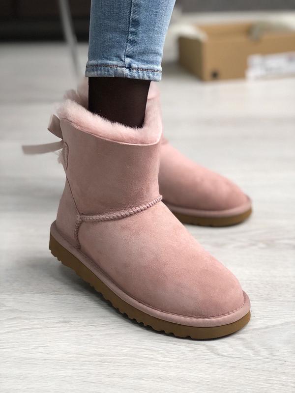 😊ugg bailey bow pink mini розовые🤗 женские зимние сапоги угги ...