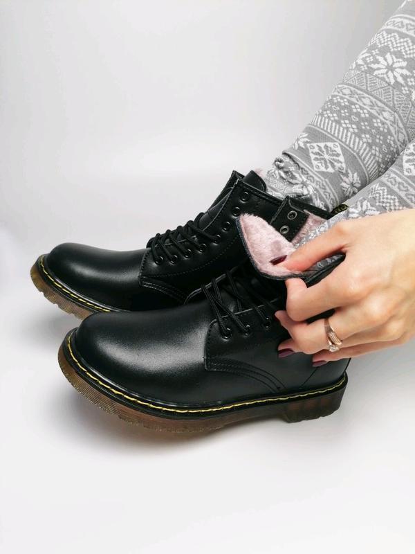 😊dr. martens 1460 black fur🤗 женские зимние ботинки мартинс чё... - Фото 5