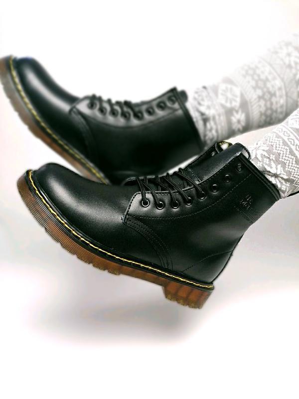 😊dr. martens 1460 black fur🤗 женские зимние ботинки мартинс чё... - Фото 7