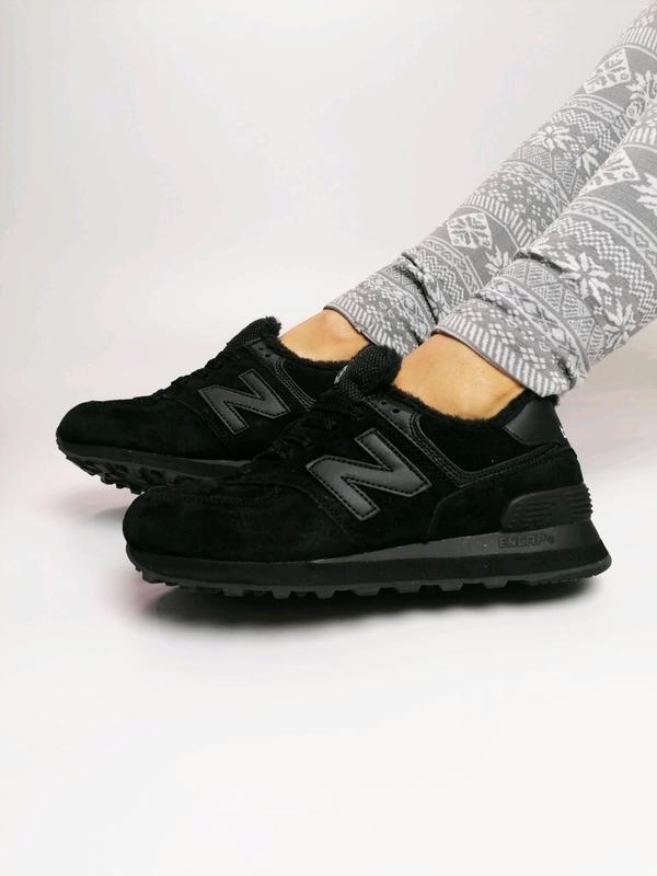 😊new balance 574 black🤗 зимние женские кроссовки с мехом чёрные