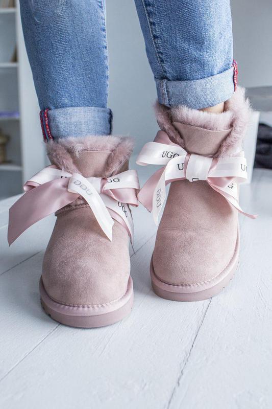 😊ugg bailey bow pink mini🤗 натуральные женские зимние сапоги у...