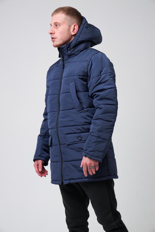 😊куртка мужская🤗мужская зимняя куртка синяя теплая - Фото 2