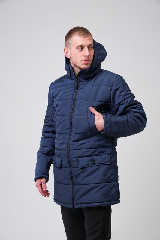 😊куртка мужская🤗мужская зимняя куртка синяя теплая - Фото 3