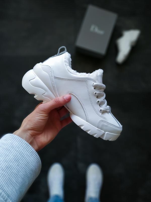 😊christian dior white🤗 женские зимние кроссовки с мехом белые ...