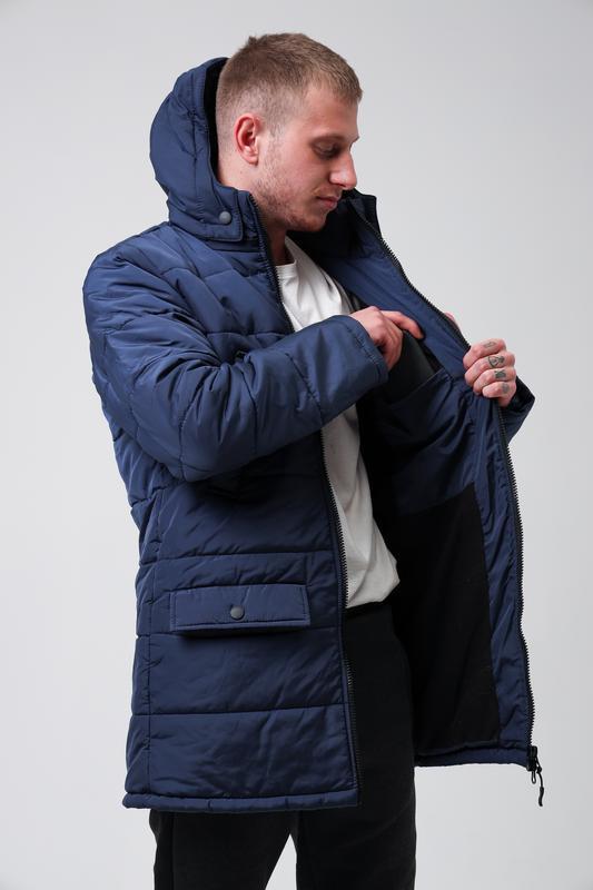 😊куртка мужская🤗мужская зимняя куртка синяя теплая - Фото 4