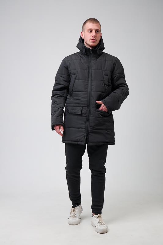 😊парка мужская🤗мужская зимняя куртка чёрная теплая