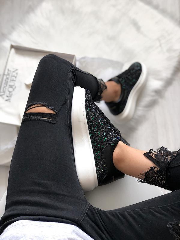 😊alexander mcqueen luxury black🤗 женские кроссовки чёрные весн...
