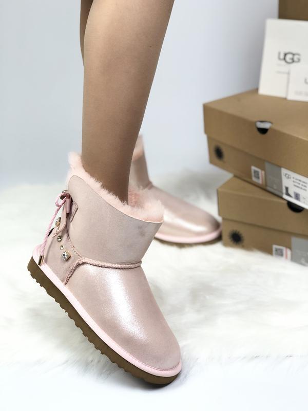 😊ugg bailey bow pink розовые🤗 женские зимние угги сапоги зима