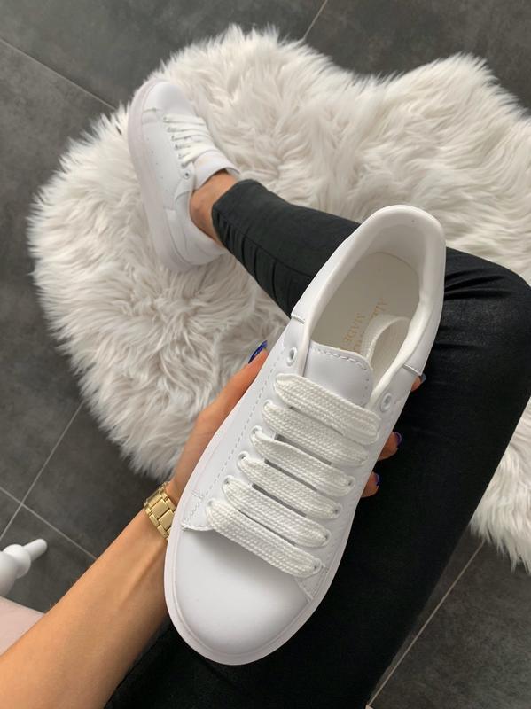 😊alexander mcqueen full white🤗 женские кроссовки маквин белые ... - Фото 3