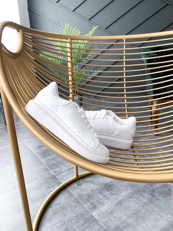 😊alexander mcqueen full white🤗 женские кроссовки маквин белые ... - Фото 4