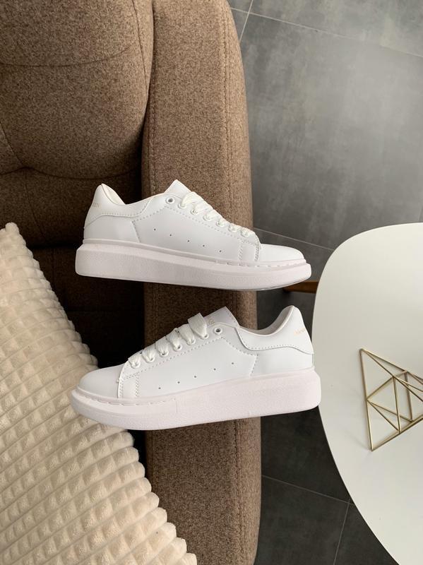 😊alexander mcqueen full white🤗 женские кроссовки маквин белые ... - Фото 5