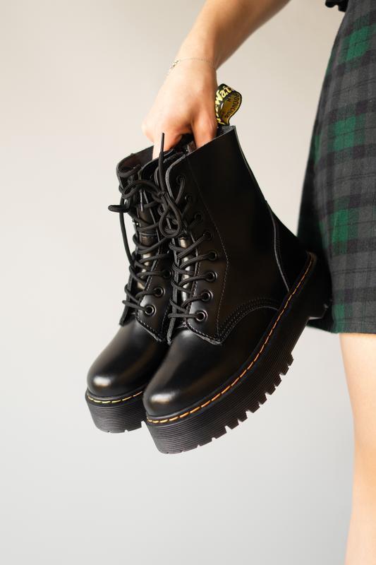 😊dr. martens jadon black fur🤗 женские зимние ботинки мартинс ч...