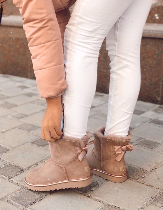 😊ugg bailey bow mini pink 🤗 женские зимние сапоги угги с мехом...