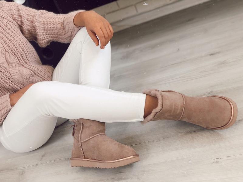 😊ugg bailey bow mini pink 🤗 женские зимние сапоги угги с мехом... - Фото 3