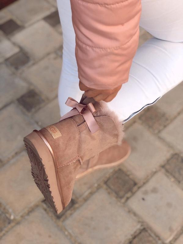 😊ugg bailey bow mini pink 🤗 женские зимние сапоги угги с мехом... - Фото 4