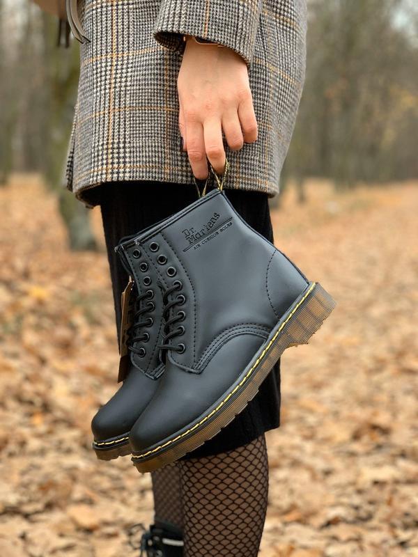 😊dr. martens 1460 black fur🤗 женские женские сапоги чёрные зима