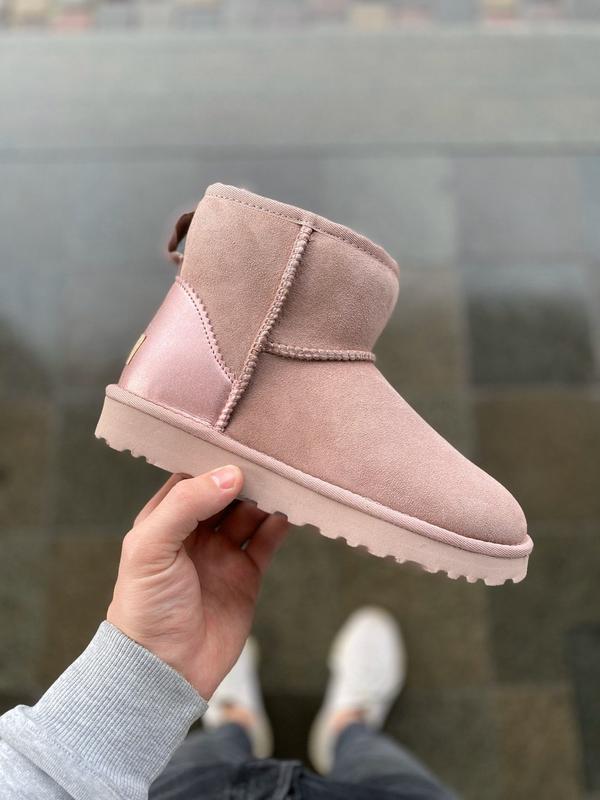 😊ugg classic mini pink 🤗 женские зимние угги сапоги натуральны...