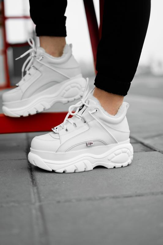 😊buffalo london white fure🤗 женские зимние кроссовки с мехом б...
