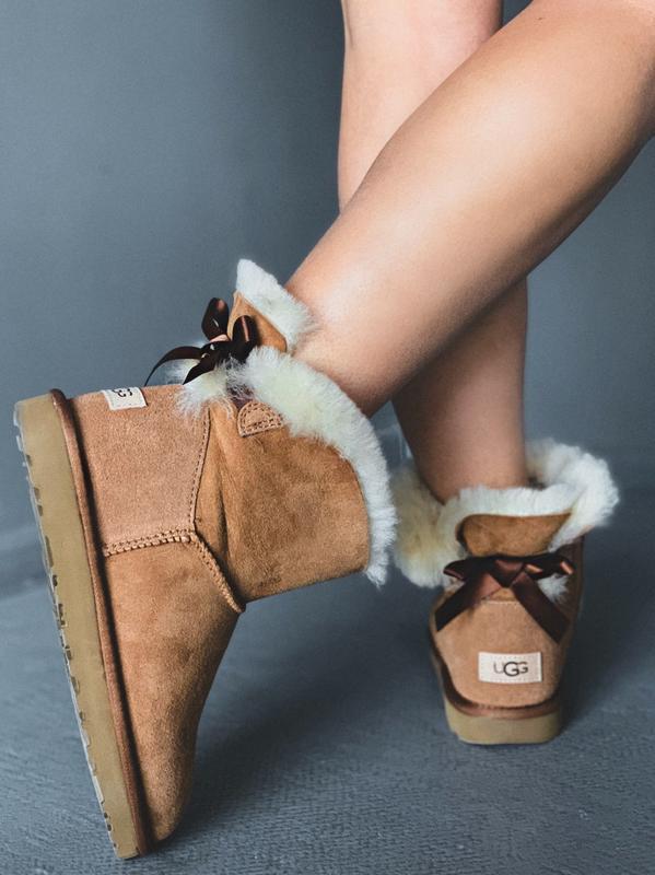 😊ugg bailey bow mini beige 🤗 женские зимние угги сапоги натура...