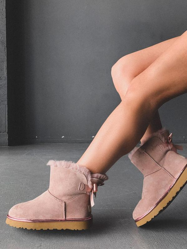 😊ugg bailey bow pink mini 🤗 женские зимние угги сапоги натурал...