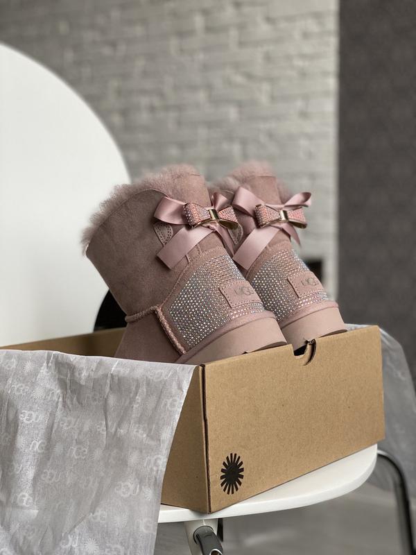 😊ugg bailey bow mini pink🤗 женские зимние угги сапоги натураль...
