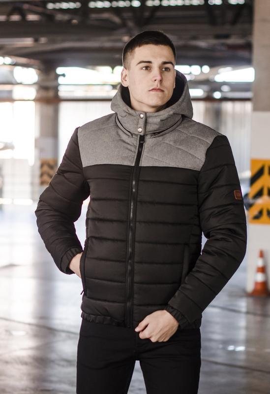 Мужская куртка чёрная с серым зимняя стильная