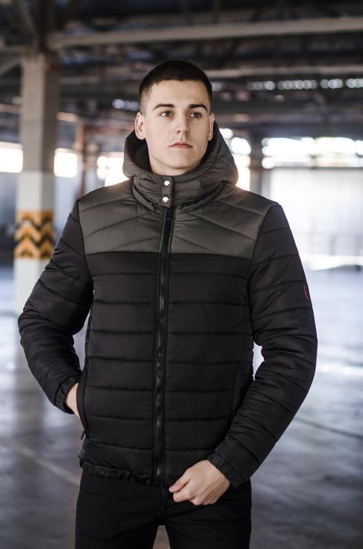 Мужская куртка чёрная зимняя стильная