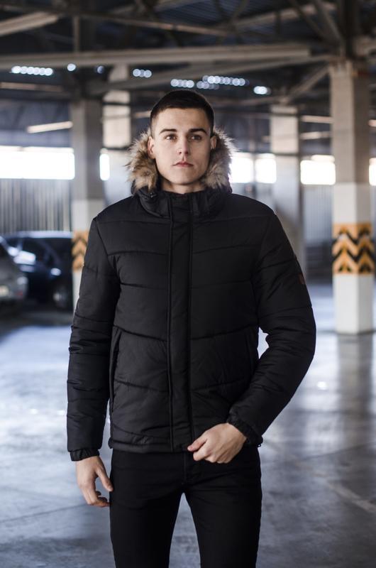 Мужская куртка с капюшоном меховым🤗
