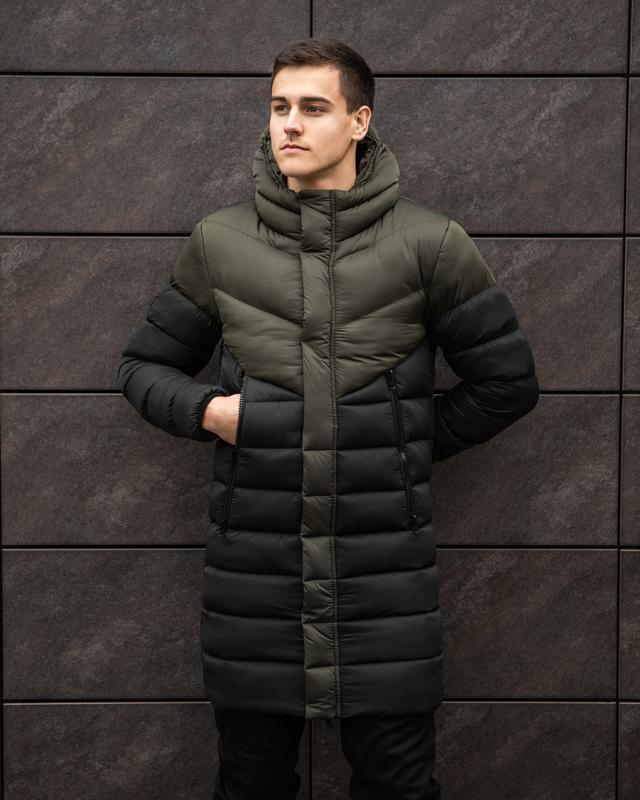 Крутая зимняя мужская удлиненная куртка парка чёрная хаки