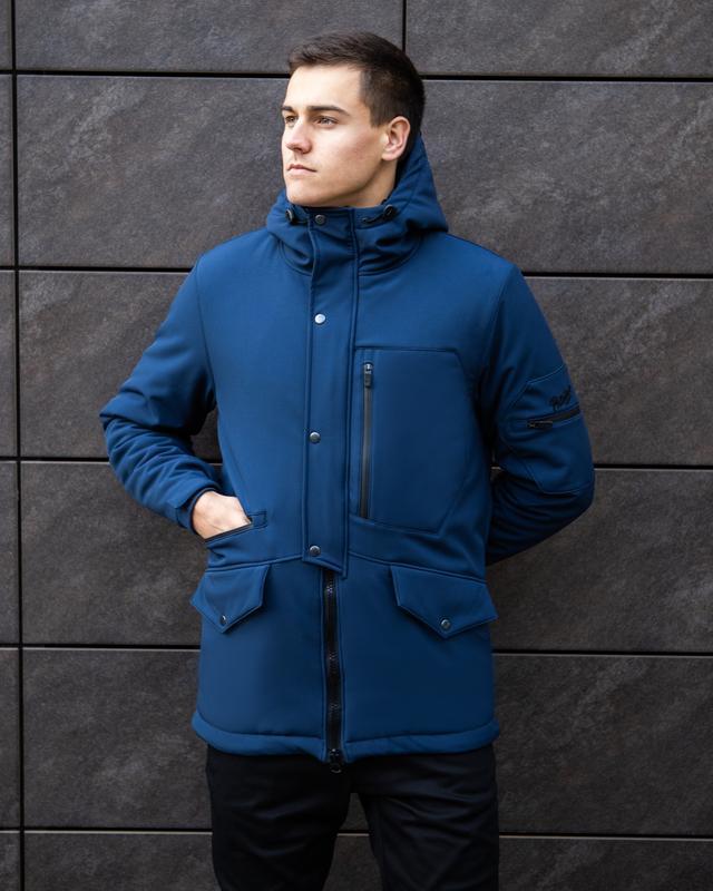 Мужская зимняя куртка синего цвета теплая классная🤗